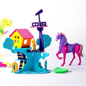 Marabu KiDS 3D Puzzle Pony und Feenhaus bunt bemalt mit Marabu KiDS Bastelfarben