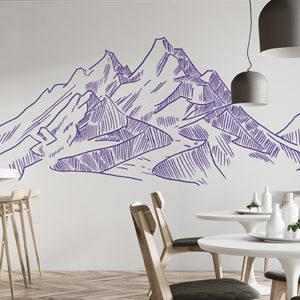 Wand in einem Café gestaltet mit einem Bergpanorama und dem Marabu Yono Marker