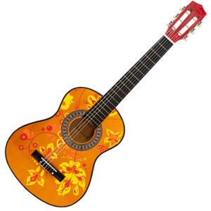 Gitarre bemalt mit gelben, oragenen und roten floralen Mustern mit dem Marabu Yono Marker
