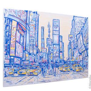 Times square in New York skizziert mit Blautönen und gelben Taxis auf einem Keilrahmen mit dem Marabu Yono Marker