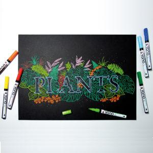 Schwarzer Tonkarton bunt gestaltet mit dem Wort PLANTS mit dem Marabu YONO Marker