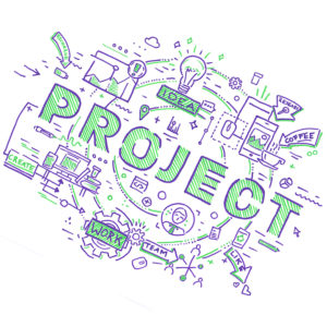Mindmap zu einem Projekt künstlerisch zu Papier gebracht mit dem Marabu Yono Marker